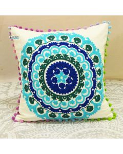 Turquoise Suzani Decorative Pillow