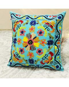 Turquoise Floral Suzani Decorative Pillow