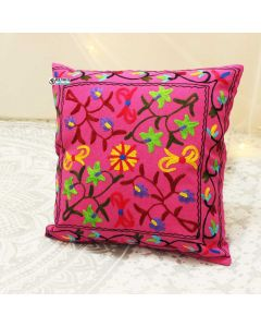 Pink Floral Suzani Decorative Pillow
