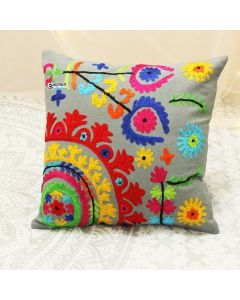 Grey Suzani Decorative Pillow