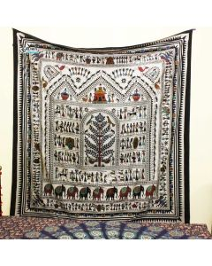 Hand Printed Bohemain Elephant Large Tapestry