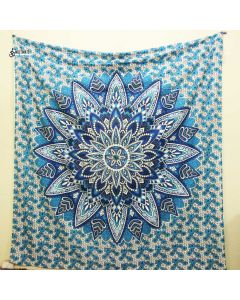 Leafy Blue Large Tapestry