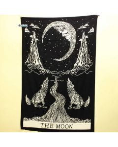 Black and White Moon Small Tapestry