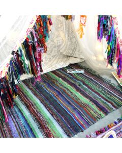 Large Hand Loomed Dhurrie Throw Rug