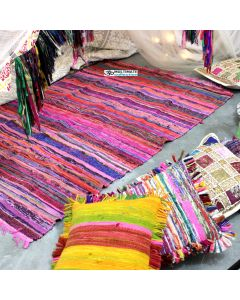 Pink Indian Hand Woven Cheap Rag Rugs