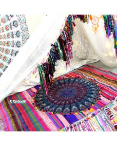 Pink Indian Chindi Rugs with Round Mandala Tapestry and pom pom