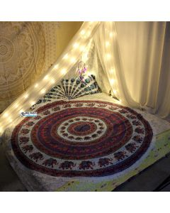 Hipster Large Round Blanket - Small Fringe