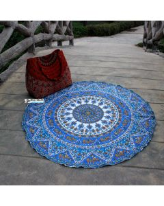 Small Elephant Mandala Cotton Round Beach Throw