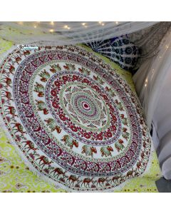 Elephant Flower Indian Bedspread Roundie