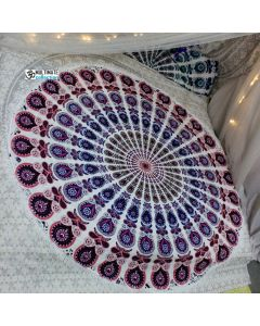 White Indian Peacock Mandala Roundie