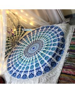 Large Peacock Bohemian Roundie With Long Fringe