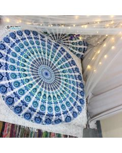 Sea Large Round Blanket - Large Fringe