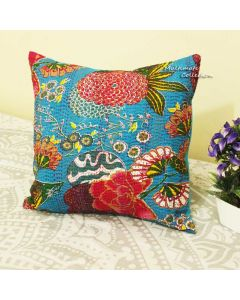 Turquoise Floral Decorative Pillow