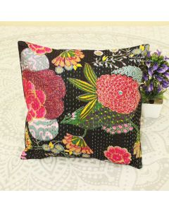 Black Floral Decorative Pillow