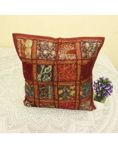 Maroon Patchwork Decorative Pillow