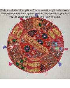 Red Vintage Round Cushion Cover - 28 inches