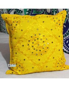 Yellow Mirrored Decorative Indian Throw Pillow Home Decor art