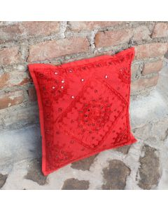 Red Mirrored Indian Decorative Throw Pillow Ethnic Home Decor art