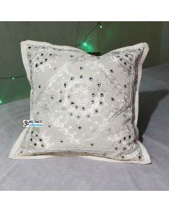 White Decorative Mirror work Indian Cushion Cover