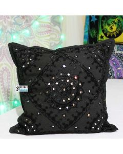 Black Decorative Mirrored Accent Handmade Throw Pillow Case