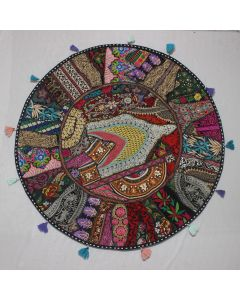 Black Vintage Round Cushion Cover - 40 inches