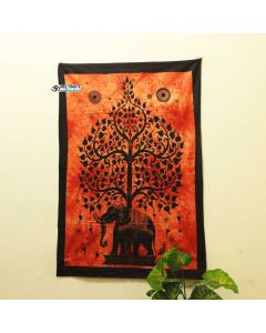 Orange Elephant Tree Poster