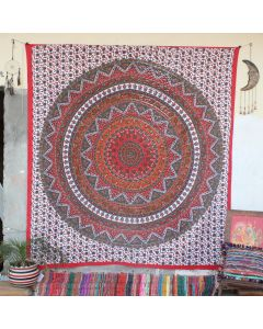 Red Lehariya Elephant Bohemian Wall Tapestry Queen Size