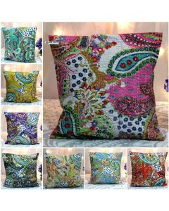 Paisley Kantha Embroidered Cushion Cover