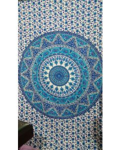 Blue Psychedelic Elephant Tapestry Wall Hanging Hippie Throw and Blanket