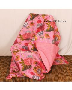 Baby Pink Floral Kantha Quilt