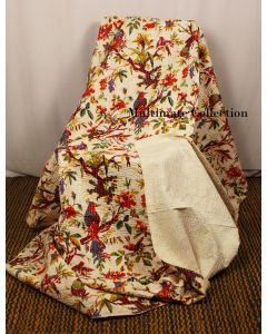 Cream Bird Kantha Quilt