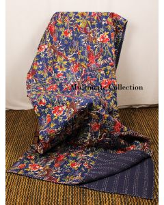 Navy Blue Bird Kantha Quilt