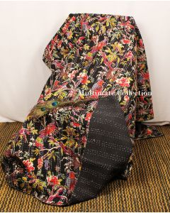 Black Bird Kantha Quilt