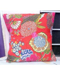 Red Floral Kantha Cushion Cover