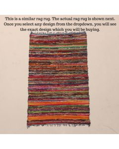 Patterned Rag Rug Meditation Mat