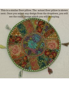 Mehandi Green Vintage Round Cushion Cover - 17 inches