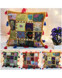 Embroidered Patchwork Pillow Cover with tassels