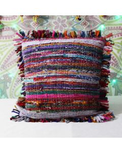 Multicolored Rug pillow cover Accent Handmade vintage Throw Pillow Case 16X16