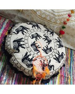 Yana Round Floor Pillow - Black Ruffle Border