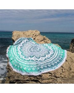 Emerald Large Round Blanket - Small Fringe