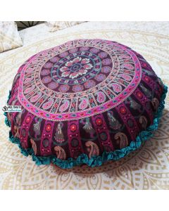 Ghoomar Round Floor Pillow - Turquoise Border